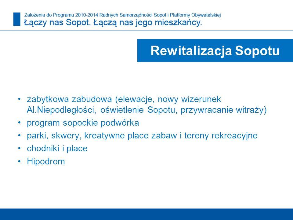 Rewitalizacja Sopotu zabytkowa zabudowa (elewacje, nowy wizerunek Al.Niepodległości, oświetlenie Sopotu, przywracanie witraży) program sopockie podwór