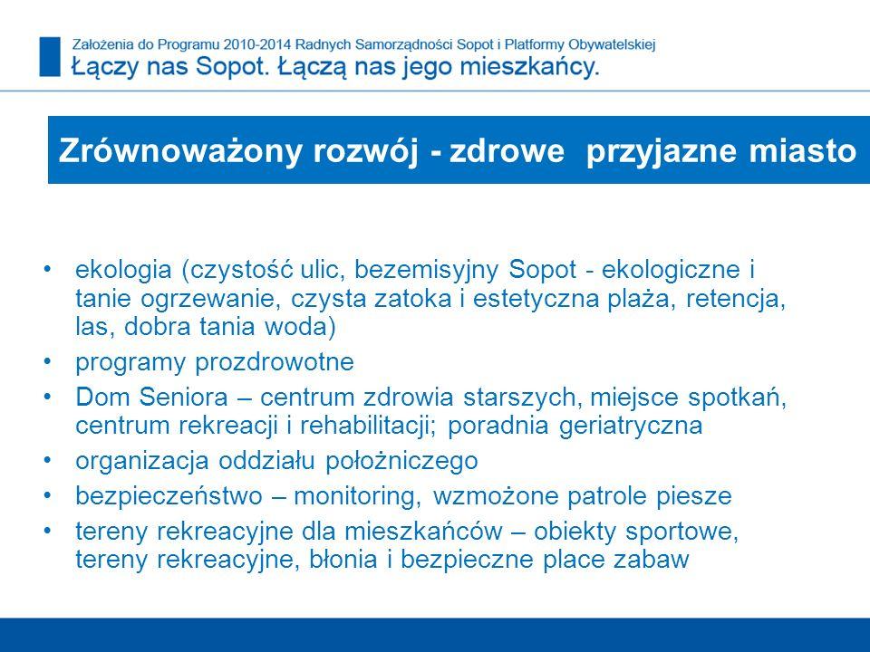 ekologia (czystość ulic, bezemisyjny Sopot - ekologiczne i tanie ogrzewanie, czysta zatoka i estetyczna plaża, retencja, las, dobra tania woda) progra