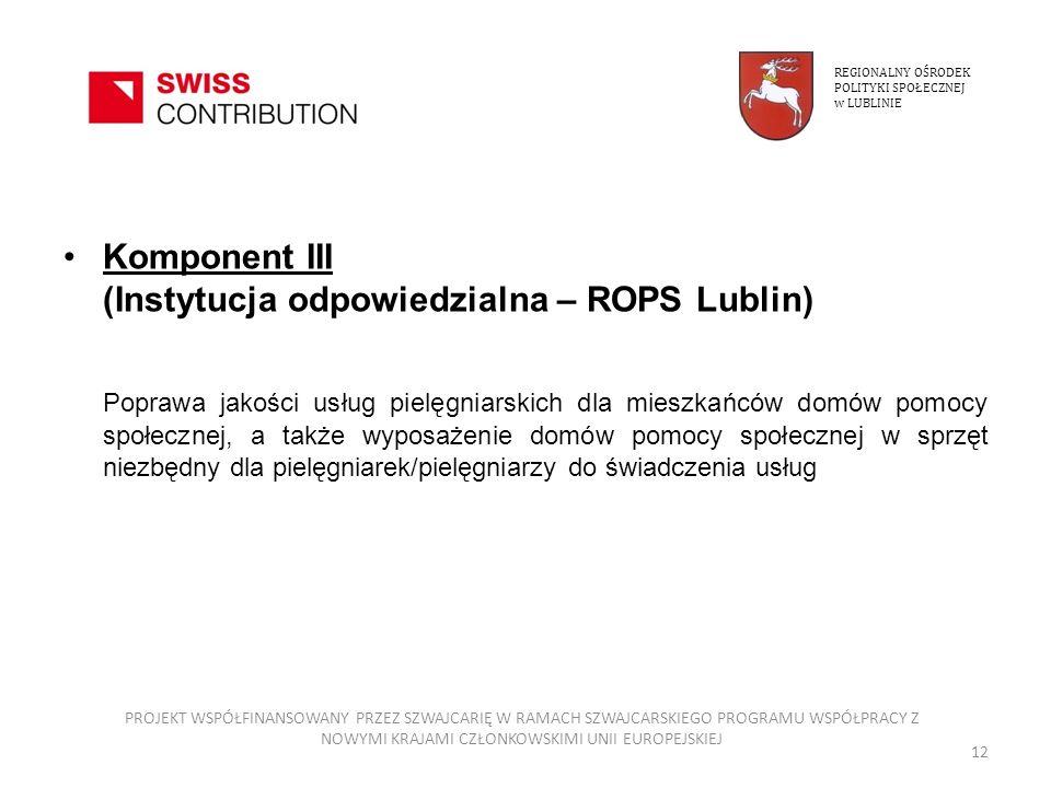 Komponent III (Instytucja odpowiedzialna – ROPS Lublin) Poprawa jakości usług pielęgniarskich dla mieszkańców domów pomocy społecznej, a także wyposaż