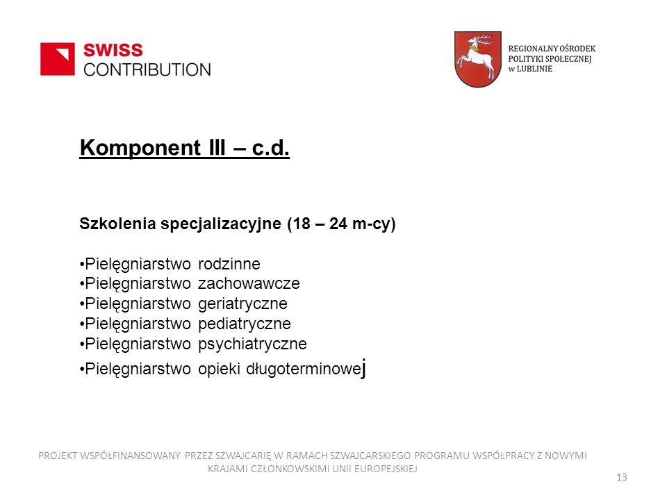 13 Komponent III – c.d. Szkolenia specjalizacyjne (18 – 24 m-cy) Pielęgniarstwo rodzinne Pielęgniarstwo zachowawcze Pielęgniarstwo geriatryczne Pielęg