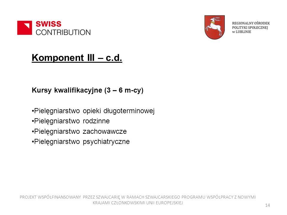 Komponent III – c.d. Kursy kwalifikacyjne (3 – 6 m-cy) Pielęgniarstwo opieki długoterminowej Pielęgniarstwo rodzinne Pielęgniarstwo zachowawcze Pielęg