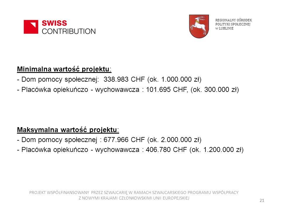 Minimalna wartość projektu: - Dom pomocy społecznej: 338.983 CHF (ok. 1.000.000 zł) - Placówka opiekuńczo - wychowawcza : 101.695 CHF, (ok. 300.000 zł