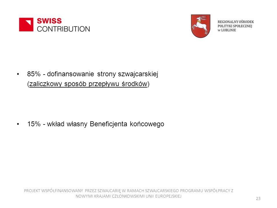 85% - dofinansowanie strony szwajcarskiej (zaliczkowy sposób przepływu środków) 15% - wkład własny Beneficjenta końcowego PROJEKT WSPÓŁFINANSOWANY PRZ