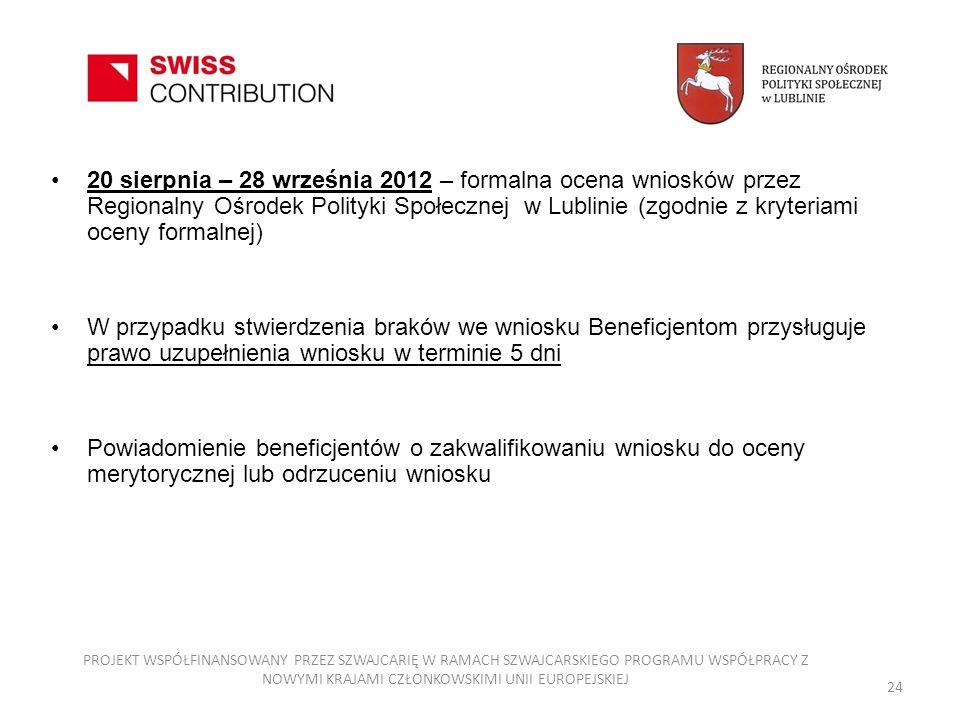 20 sierpnia – 28 września 2012 – formalna ocena wniosków przez Regionalny Ośrodek Polityki Społecznej w Lublinie (zgodnie z kryteriami oceny formalnej