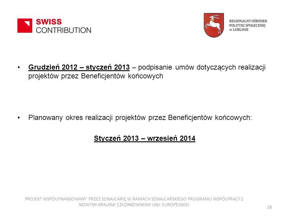 Grudzień 2012 – styczeń 2013 – podpisanie umów dotyczących realizacji projektów przez Beneficjentów końcowych Planowany okres realizacji projektów prz