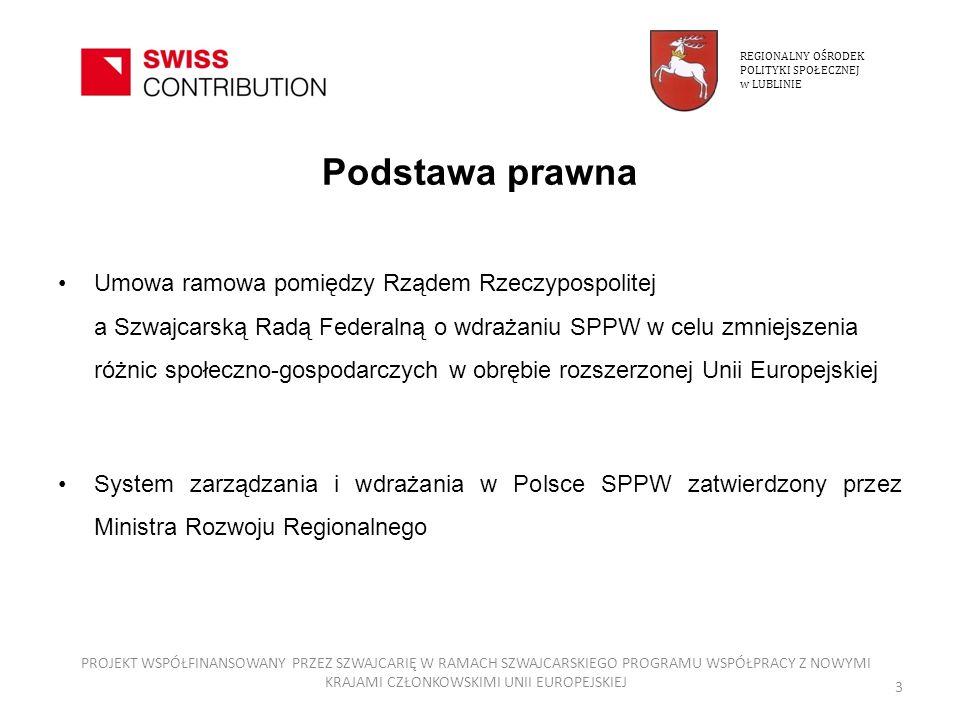 Podstawa prawna Umowa ramowa pomiędzy Rządem Rzeczypospolitej a Szwajcarską Radą Federalną o wdrażaniu SPPW w celu zmniejszenia różnic społeczno-gospo