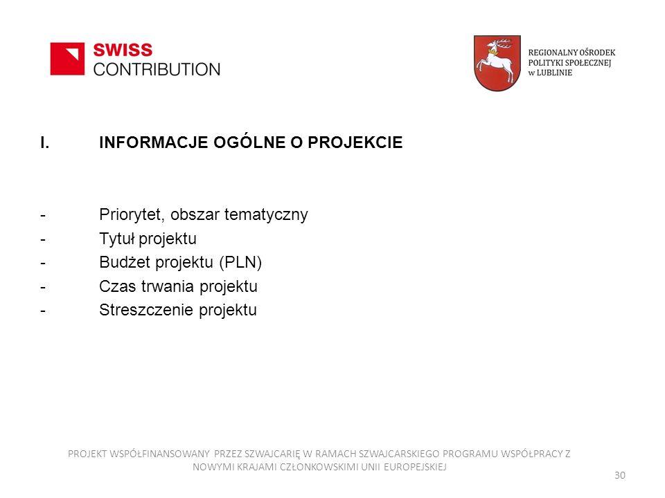 30 I.INFORMACJE OGÓLNE O PROJEKCIE -Priorytet, obszar tematyczny -Tytuł projektu -Budżet projektu (PLN) -Czas trwania projektu -Streszczenie projektu