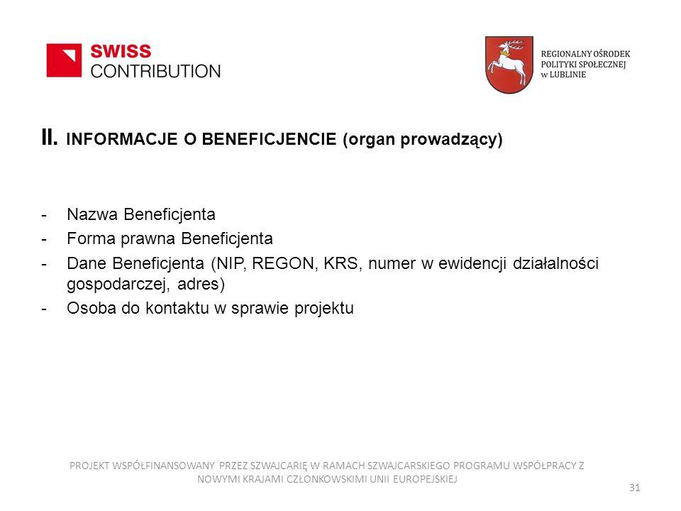 II. INFORMACJE O BENEFICJENCIE (organ prowadzący) -Nazwa Beneficjenta -Forma prawna Beneficjenta -Dane Beneficjenta (NIP, REGON, KRS, numer w ewidencj