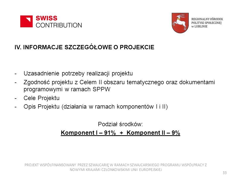 IV. INFORMACJE SZCZEGÓŁOWE O PROJEKCIE -Uzasadnienie potrzeby realizacji projektu -Zgodność projektu z Celem II obszaru tematycznego oraz dokumentami