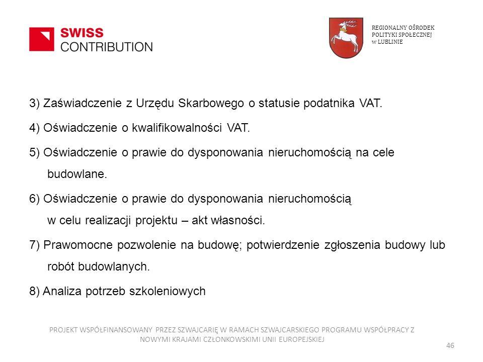 3) Zaświadczenie z Urzędu Skarbowego o statusie podatnika VAT. 4) Oświadczenie o kwalifikowalności VAT. 5) Oświadczenie o prawie do dysponowania nieru