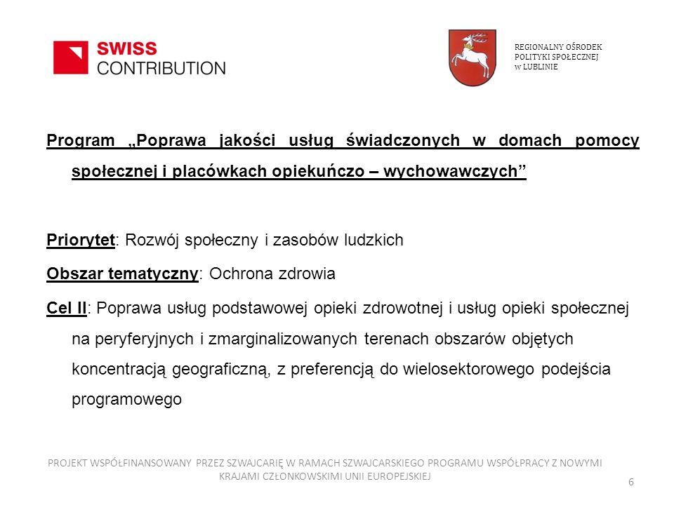 Strona szwajcarska: Biuro Szwajcarsko – Polskiego Programu Współpracy przy Ambasadzie Szwajcarii w Warszawie Krajowa Instytucja Koordynująca: Ministerstwo Rozwoju Regionalnego Instytucja Pośrednicząca: Biuro do Spraw Zagranicznych Programów Pomocy w Ochronie Zdrowia przy Ministerstwie Zdrowia REGIONALNY OŚRODEK POLITYKI SPOŁECZNEJ w LUBLINIE PROJEKT WSPÓŁFINANSOWANY PRZEZ SZWAJCARIĘ W RAMACH SZWAJCARSKIEGO PROGRAMU WSPÓŁPRACY Z NOWYMI KRAJAMI CZŁONKOWSKIMI UNII EUROPEJSKIEJ 7