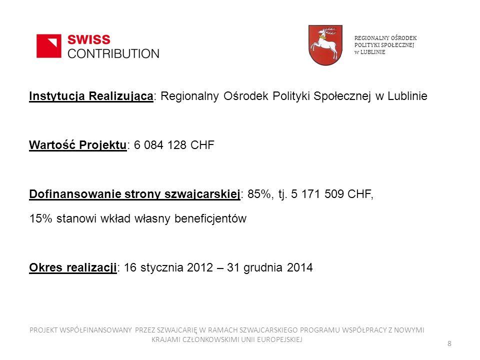 Regionalny Ośrodek Polityki Społecznej w Lublinie po wyborze projektów do realizacji przeprowadzi na początku i na zakończenie realizacji projektów badanie: - poziomu zadowolenia z warunków życia wśród mieszkańców/wychowanków - poziomu zadowolenia z warunków pracy wśród pracowników PROJEKT WSPÓŁFINANSOWANY PRZEZ SZWAJCARIĘ W RAMACH SZWAJCARSKIEGO PROGRAMU WSPÓŁPRACY Z NOWYMI KRAJAMI CZŁONKOWSKIMI UNII EUROPEJSKIEJ 39