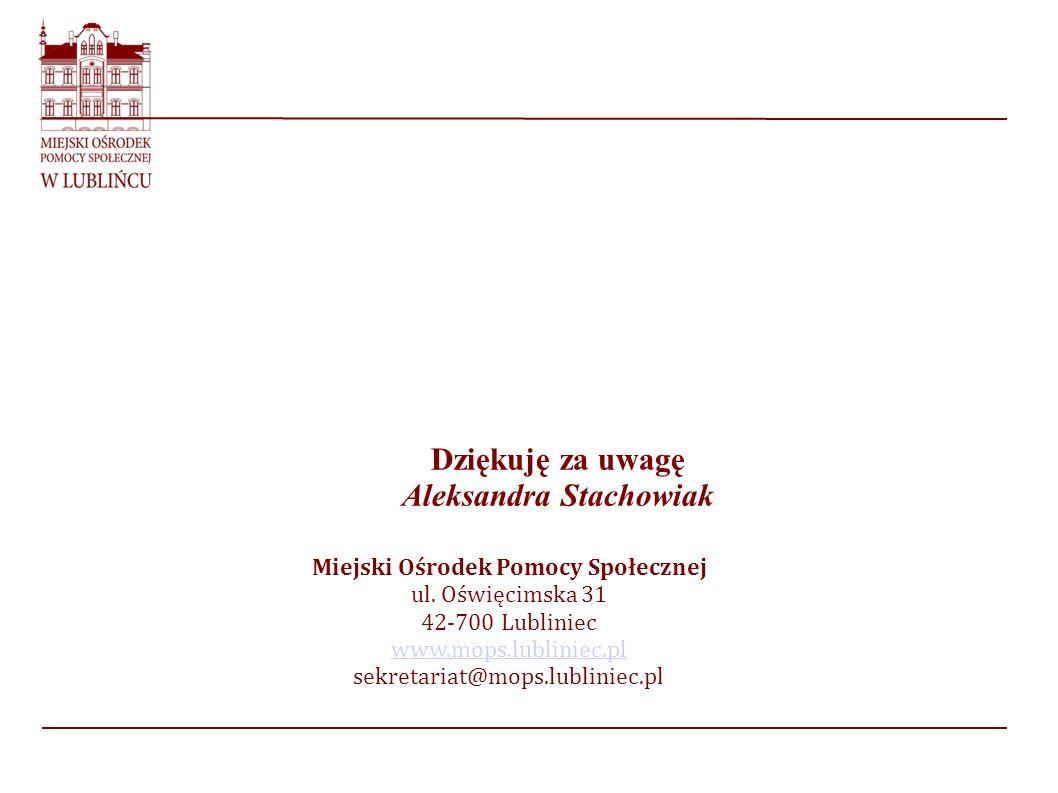 Dziękuję za uwagę Aleksandra Stachowiak Miejski Ośrodek Pomocy Społecznej ul. Oświęcimska 31 42-700 Lubliniec www.mops.lubliniec.pl sekretariat@mops.l