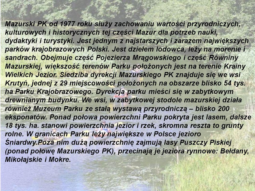 Mazurski PK od 1977 roku służy zachowaniu wartości przyrodniczych, kulturowych i historycznych tej części Mazur dla potrzeb nauki, dydaktyki i turystyki.