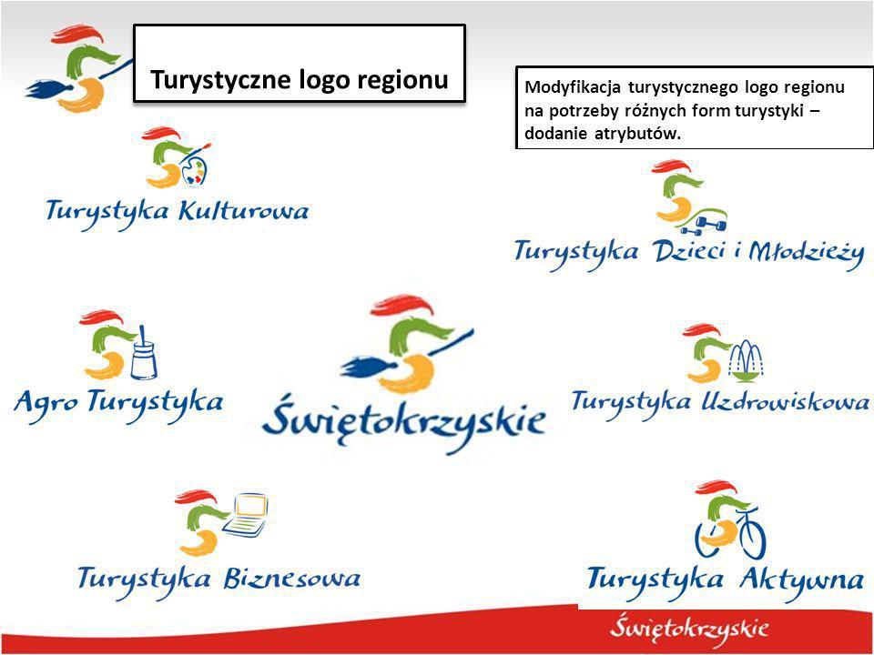 Turystyczne logo regionu Modyfikacja turystycznego logo regionu na potrzeby różnych form turystyki – dodanie atrybutów.