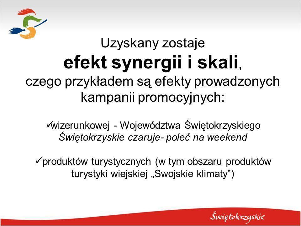 Uzyskany zostaje efekt synergii i skali, czego przykładem są efekty prowadzonych kampanii promocyjnych: wizerunkowej - Województwa Świętokrzyskiego Św