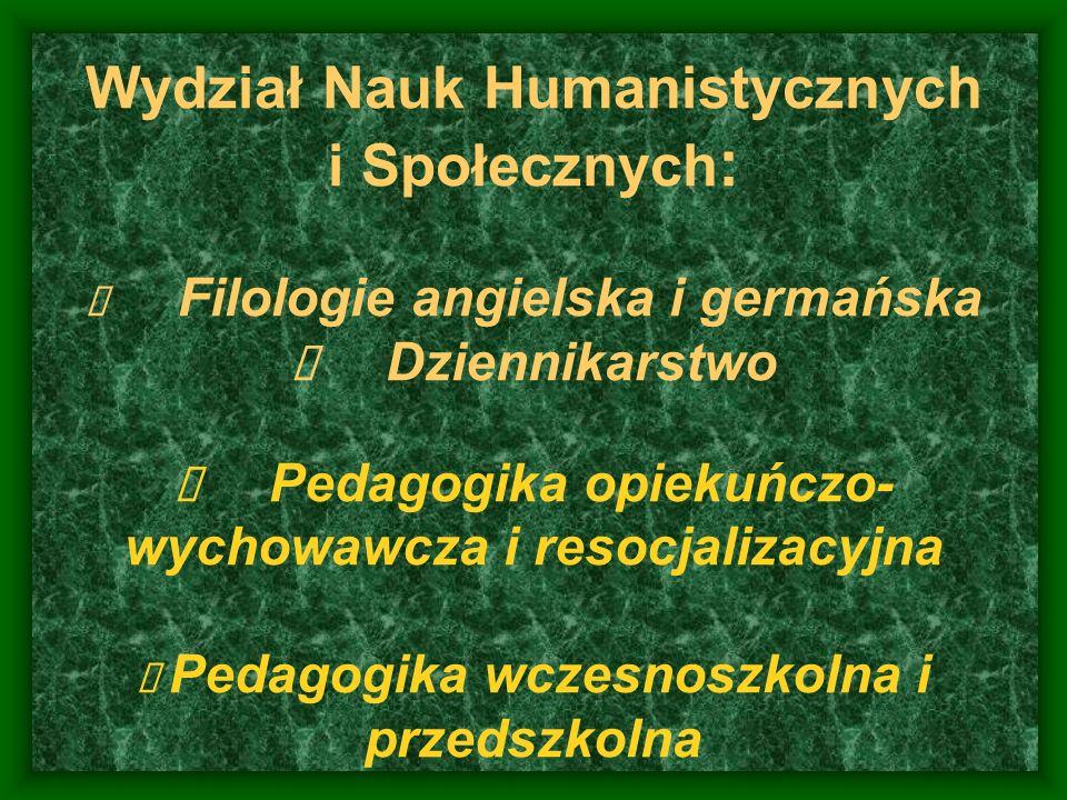Wydział Nauk Humanistycznych i Społecznych : Filologie angielska i germańska Dziennikarstwo Pedagogika opiekuńczo- wychowawcza i resocjalizacyjna Peda