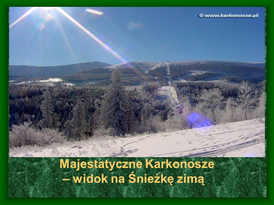 Majestatyczne Karkonosze – widok na Śnieżkę zimą