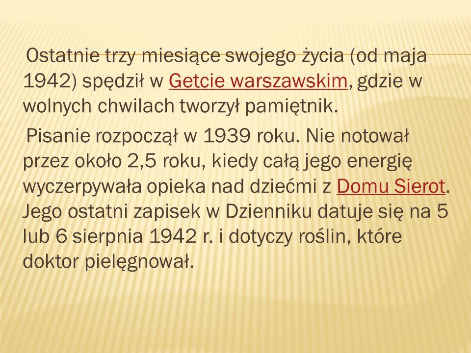 Ostatnie trzy miesiące swojego życia (od maja 1942) spędził w Getcie warszawskim, gdzie w wolnych chwilach tworzył pamiętnik.Getcie warszawskim Pisani