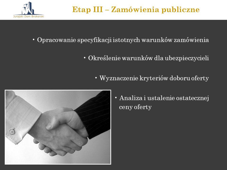 Opracowanie specyfikacji istotnych warunków zamówienia Określenie warunków dla ubezpieczycieli Wyznaczenie kryteriów doboru oferty Analiza i ustalenie