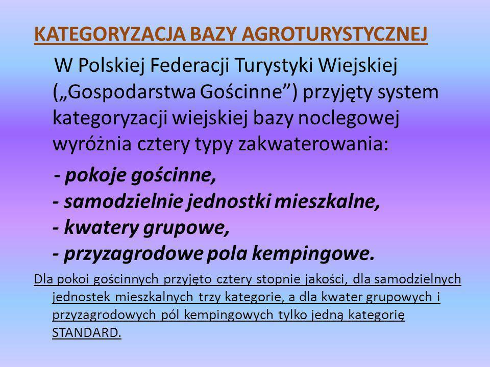 KATEGORYZACJA BAZY AGROTURYSTYCZNEJ W Polskiej Federacji Turystyki Wiejskiej (Gospodarstwa Gościnne) przyjęty system kategoryzacji wiejskiej bazy nocl