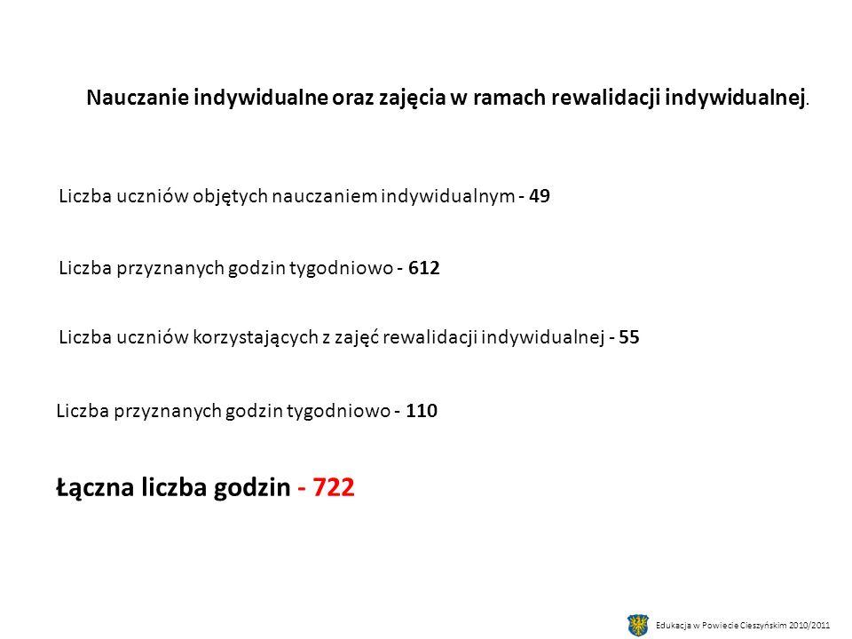 Edukacja w Powiecie Cieszyńskim 2010/2011 Nauczanie indywidualne oraz zajęcia w ramach rewalidacji indywidualnej.