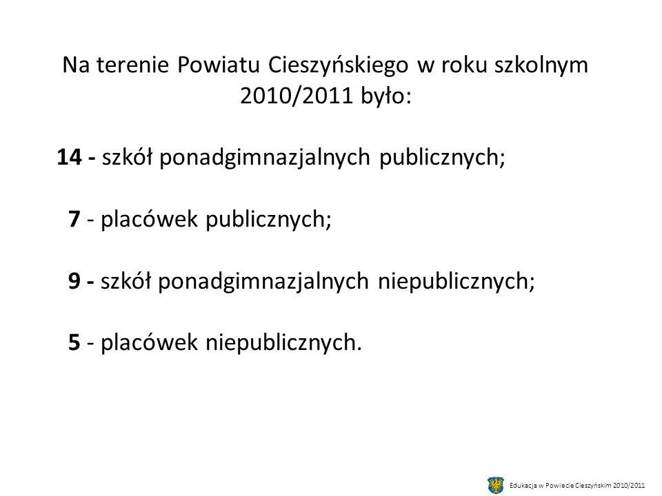Na terenie Powiatu Cieszyńskiego w roku szkolnym 2010/2011 było: 14 - szkół ponadgimnazjalnych publicznych; 7 - placówek publicznych; 9 - szkół ponadgimnazjalnych niepublicznych; 5 - placówek niepublicznych.