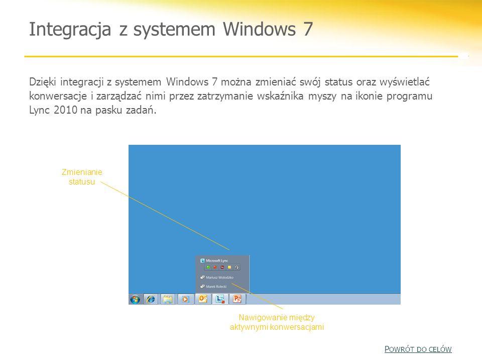 Integracja z systemem Windows 7 Dzięki integracji z systemem Windows 7 można zmieniać swój status oraz wyświetlać konwersacje i zarządzać nimi przez z