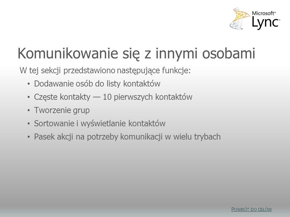 Komunikowanie się z innymi osobami W tej sekcji przedstawiono następujące funkcje: Dodawanie osób do listy kontaktów Częste kontakty 10 pierwszych kon