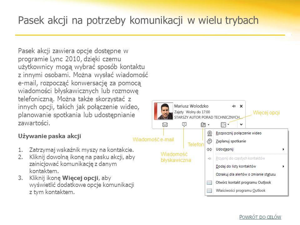 Pasek akcji na potrzeby komunikacji w wielu trybach Pasek akcji zawiera opcje dostępne w programie Lync 2010, dzięki czemu użytkownicy mogą wybrać spo