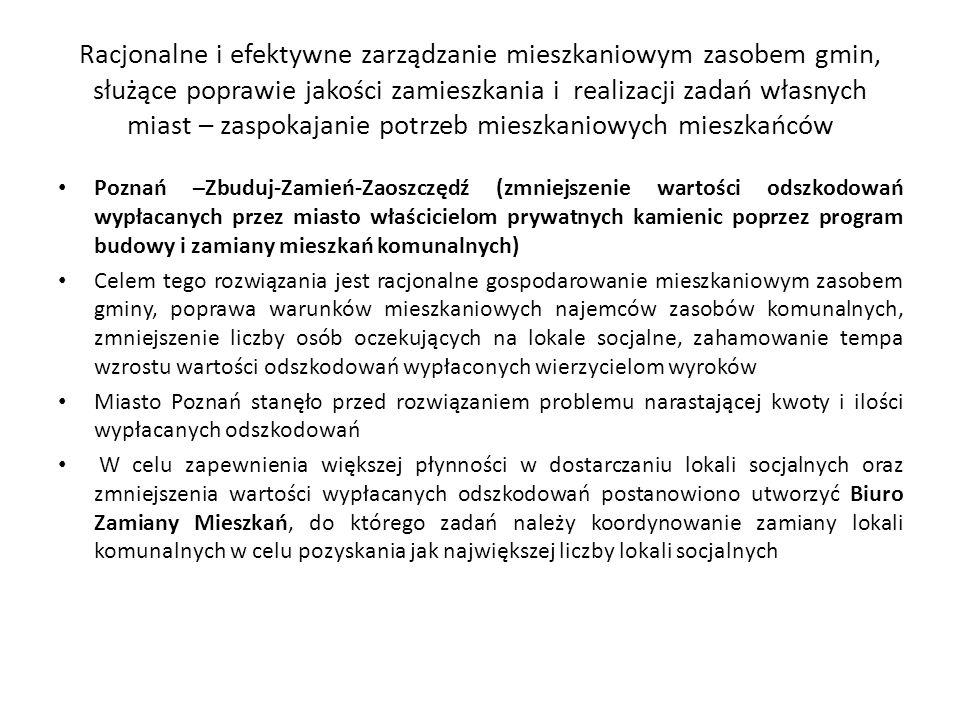 Racjonalne i efektywne zarządzanie mieszkaniowym zasobem gmin, służące poprawie jakości zamieszkania i realizacji zadań własnych miast – zaspokajanie potrzeb mieszkaniowych mieszkańców Poznań –Zbuduj-Zamień-Zaoszczędź (zmniejszenie wartości odszkodowań wypłacanych przez miasto właścicielom prywatnych kamienic poprzez program budowy i zamiany mieszkań komunalnych) Celem tego rozwiązania jest racjonalne gospodarowanie mieszkaniowym zasobem gminy, poprawa warunków mieszkaniowych najemców zasobów komunalnych, zmniejszenie liczby osób oczekujących na lokale socjalne, zahamowanie tempa wzrostu wartości odszkodowań wypłaconych wierzycielom wyroków Miasto Poznań stanęło przed rozwiązaniem problemu narastającej kwoty i ilości wypłacanych odszkodowań W celu zapewnienia większej płynności w dostarczaniu lokali socjalnych oraz zmniejszenia wartości wypłacanych odszkodowań postanowiono utworzyć Biuro Zamiany Mieszkań, do którego zadań należy koordynowanie zamiany lokali komunalnych w celu pozyskania jak największej liczby lokali socjalnych