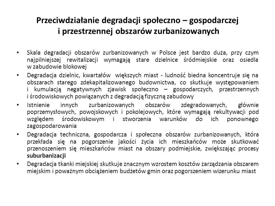 Przeciwdziałanie degradacji społeczno – gospodarczej i przestrzennej obszarów zurbanizowanych Skala degradacji obszarów zurbanizowanych w Polsce jest bardzo duża, przy czym najpilniejszej rewitalizacji wymagają stare dzielnice śródmiejskie oraz osiedla w zabudowie blokowej Degradacja dzielnic, kwartałów większych miast - ludność biedna koncentruje się na obszarach starego zdekapitalizowanego budownictwa, co skutkuje występowaniem i kumulacją negatywnych zjawisk społeczno – gospodarczych, przestrzennych i środowiskowych powiązanych z degradacją fizyczną zabudowy Istnienie innych zurbanizowanych obszarów zdegradowanych, głównie poprzemysłowych, powojskowych i pokolejowych, które wymagają rekultywacji pod względem środowiskowym i stworzenia warunków do ich ponownego zagospodarowania Degradacja techniczna, gospodarcza i społeczna obszarów zurbanizowanych, która przekłada się na pogorszenie jakości życia ich mieszkańców może skutkować przenoszeniem się mieszkańców miast na obszary podmiejskie, zwiększając procesy suburbanizacji Degradacja tkanki miejskiej skutkuje znacznym wzrostem kosztów zarządzania obszarem miejskim i poważnym obciążeniem budżetów gmin oraz pogorszeniem wizerunku miast