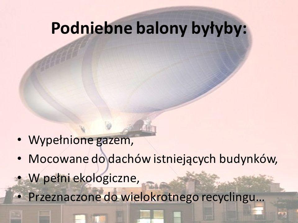 Podniebne balony byłyby: Wypełnione gazem, Mocowane do dachów istniejących budynków, W pełni ekologiczne, Przeznaczone do wielokrotnego recyclingu…