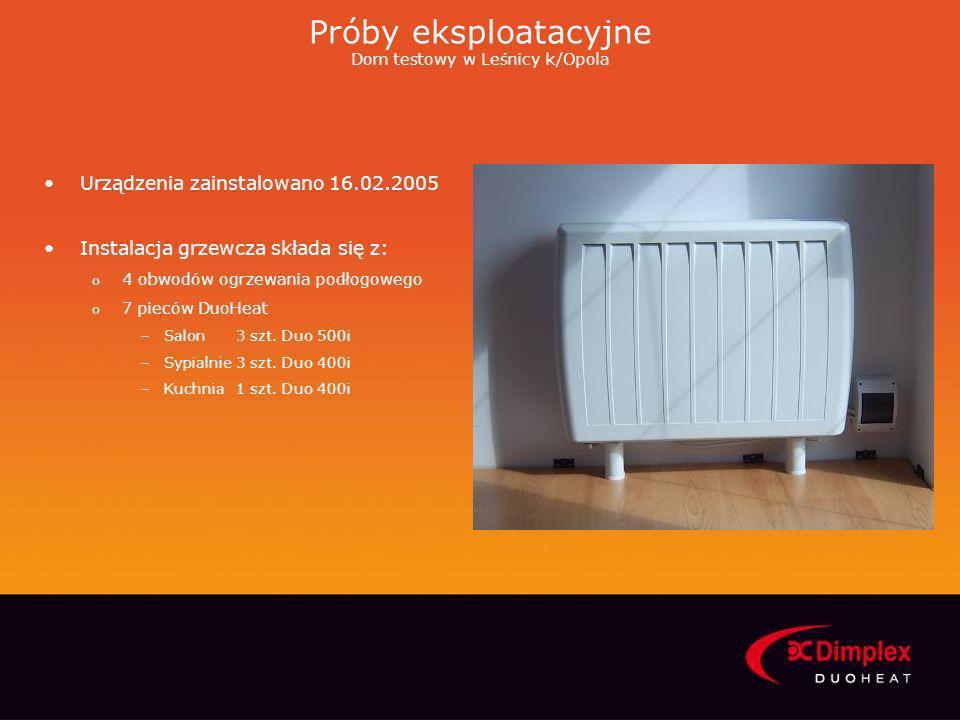 Próby eksploatacyjne Dom testowy w Leśnicy k/Opola Urządzenia zainstalowano 16.02.2005 Instalacja grzewcza składa się z: o 4 obwodów ogrzewania podłog