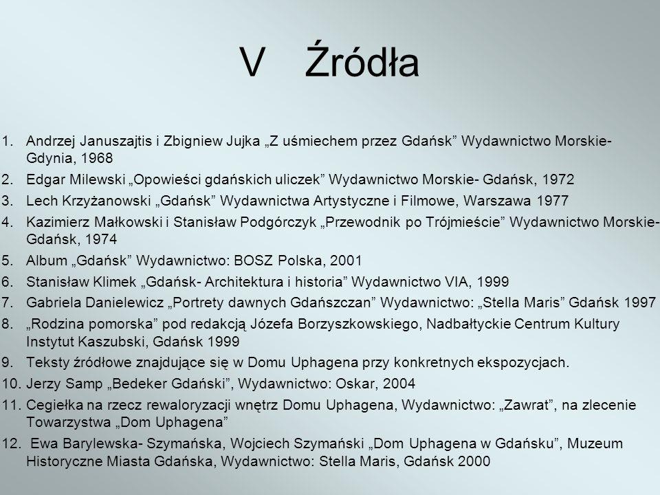 VŹródła 1. Andrzej Januszajtis i Zbigniew Jujka Z uśmiechem przez Gdańsk Wydawnictwo Morskie- Gdynia, 1968 2. Edgar Milewski Opowieści gdańskich ulicz