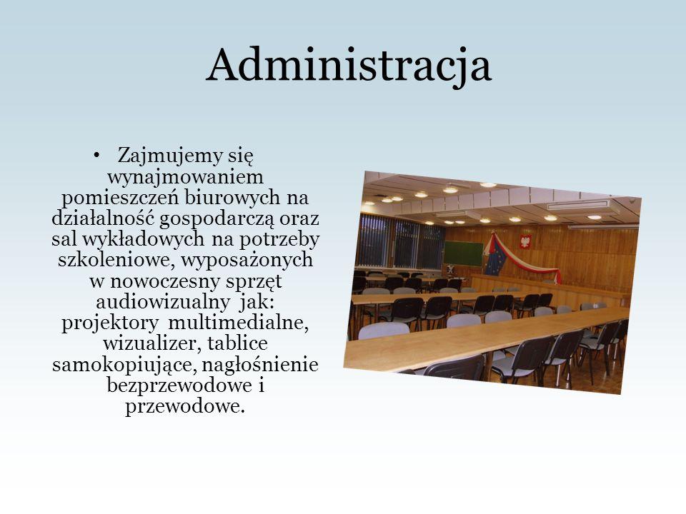 Administracja Zajmujemy się wynajmowaniem pomieszczeń biurowych na działalność gospodarczą oraz sal wykładowych na potrzeby szkoleniowe, wyposażonych w nowoczesny sprzęt audiowizualny jak: projektory multimedialne, wizualizer, tablice samokopiujące, nagłośnienie bezprzewodowe i przewodowe.