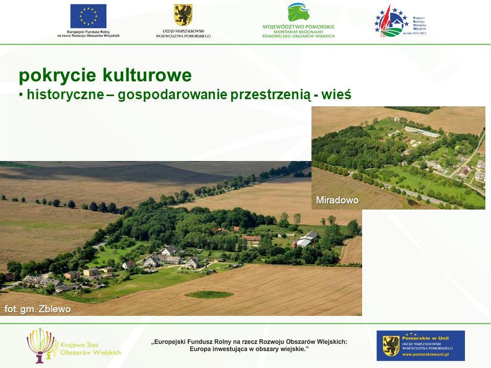 pokrycie kulturowe historyczne – gospodarowanie przestrzenią - wieś fot. gm. Zblewo Miradowo
