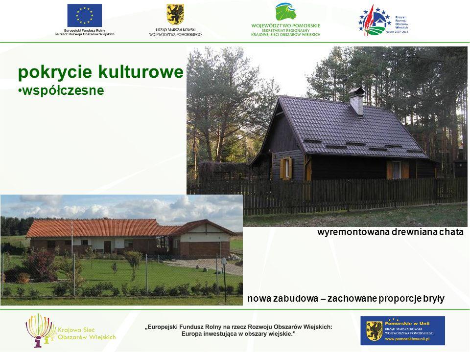 pokrycie kulturowe współczesne nowa zabudowa – zachowane proporcje bryły wyremontowana drewniana chata