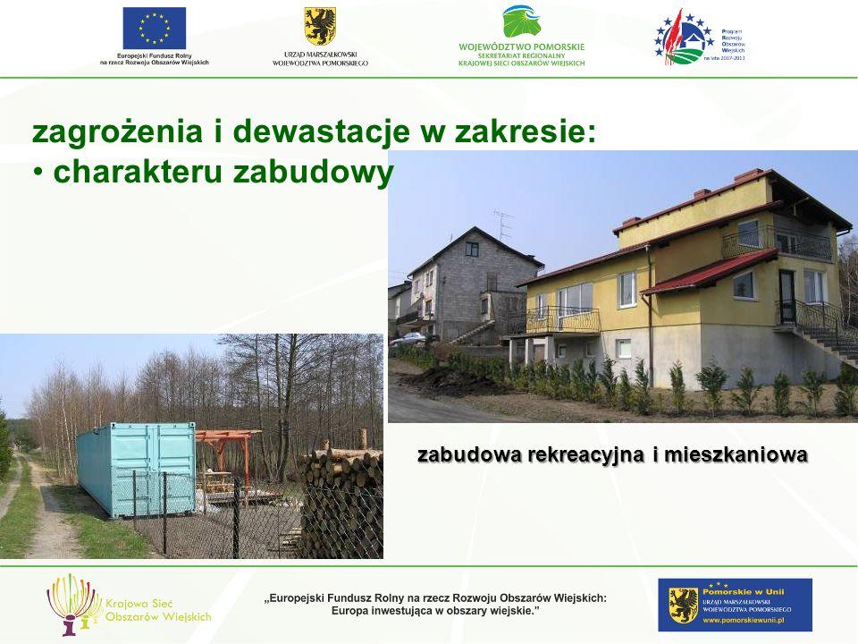 zagrożenia i dewastacje w zakresie: charakteru zabudowy zabudowa rekreacyjna i mieszkaniowa