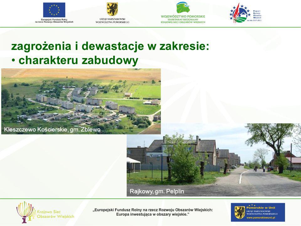 zagrożenia i dewastacje w zakresie: charakteru zabudowy Kleszczewo Kościerskie, gm. Zblewo Rajkowy, gm. Pelplin