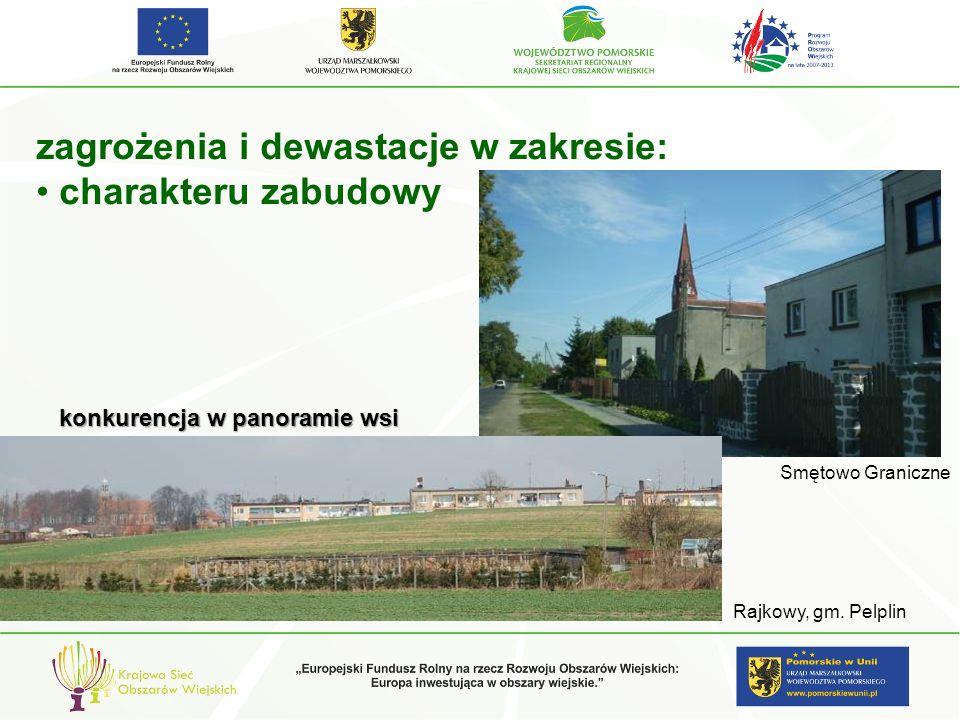 zagrożenia i dewastacje w zakresie: charakteru zabudowy konkurencja w panoramie wsi Rajkowy, gm. Pelplin Smętowo Graniczne