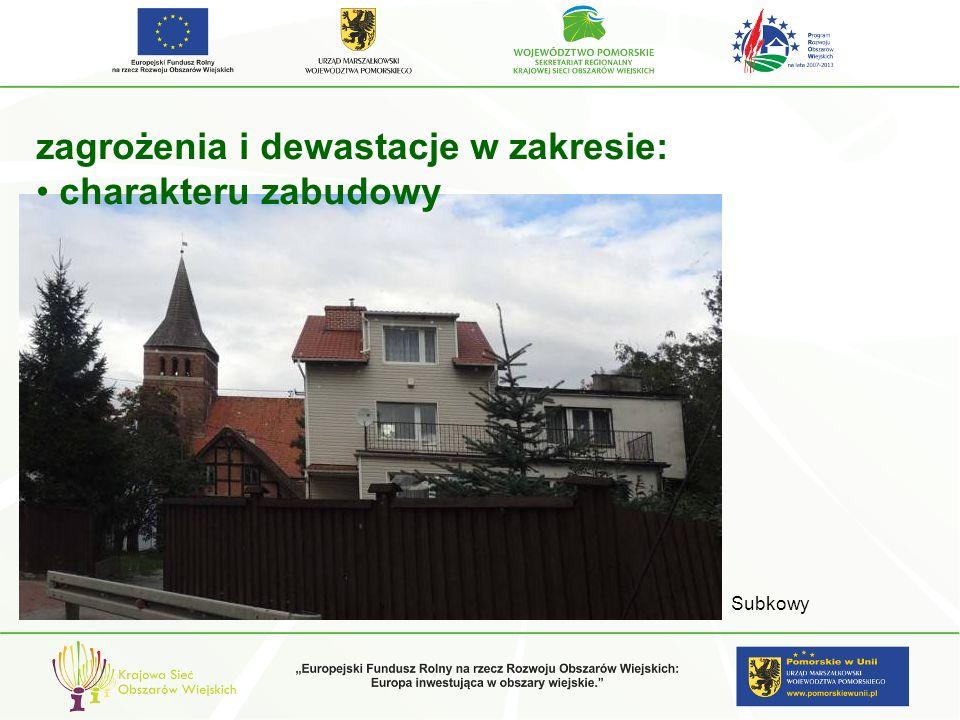 zagrożenia i dewastacje w zakresie: charakteru zabudowy Subkowy