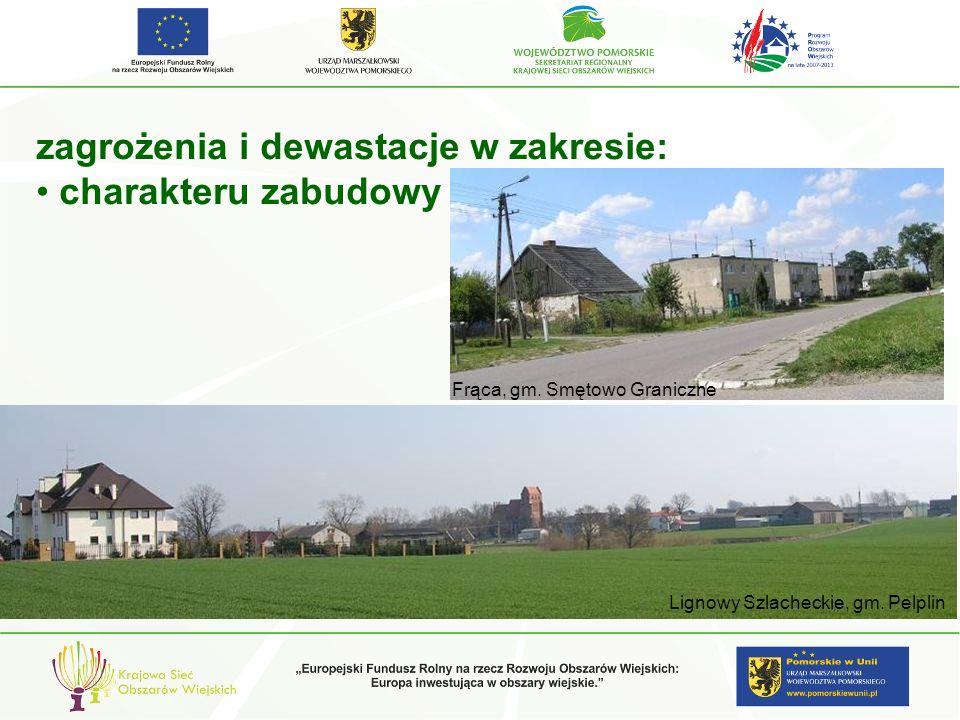 zagrożenia i dewastacje w zakresie: charakteru zabudowy Lignowy Szlacheckie, gm. Pelplin Frąca, gm. Smętowo Graniczne