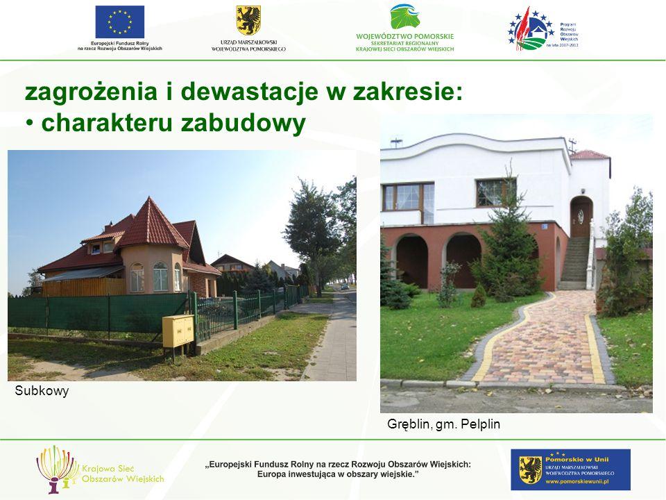 zagrożenia i dewastacje w zakresie: charakteru zabudowy Subkowy Gręblin, gm. Pelplin