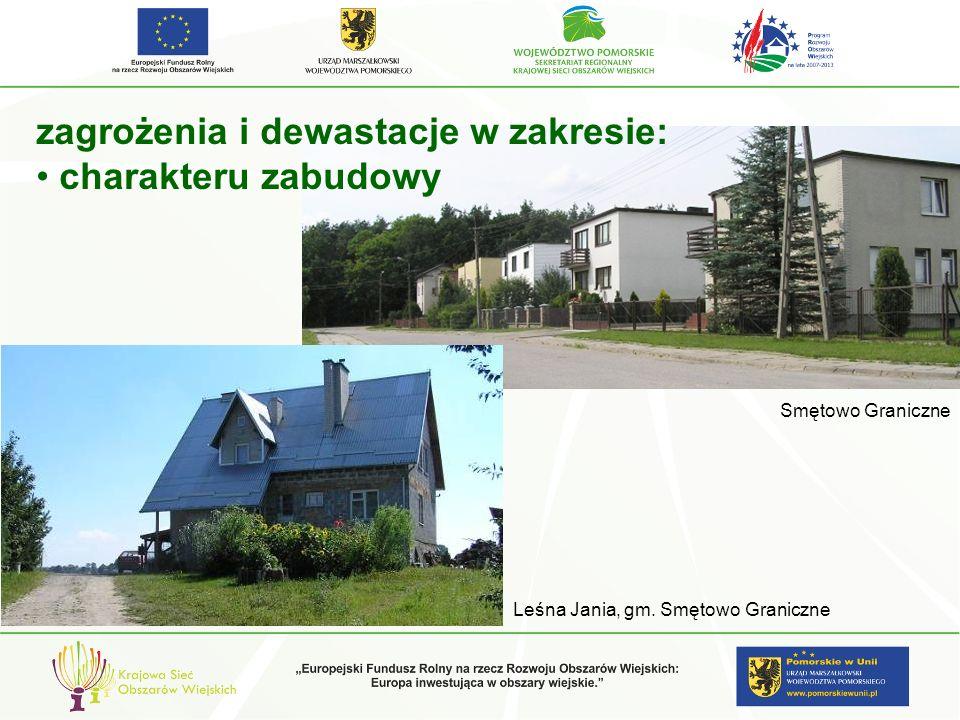 zagrożenia i dewastacje w zakresie: charakteru zabudowy Smętowo Graniczne Leśna Jania, gm. Smętowo Graniczne