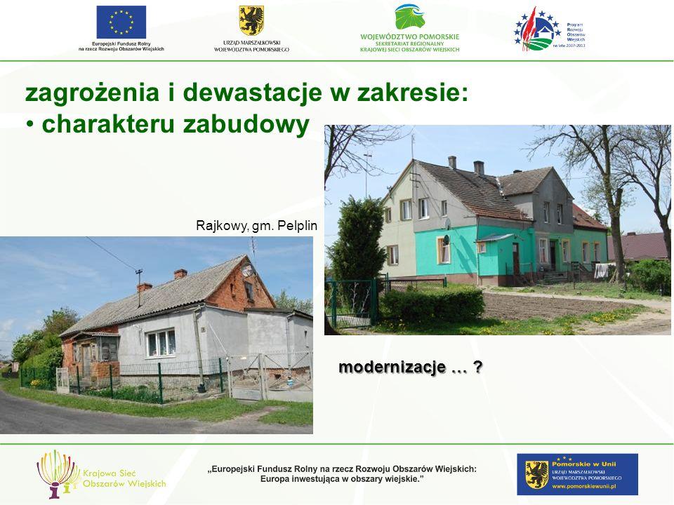 zagrożenia i dewastacje w zakresie: charakteru zabudowy modernizacje … ? Rajkowy, gm. Pelplin