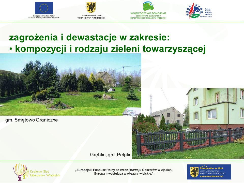 zagrożenia i dewastacje w zakresie: kompozycji i rodzaju zieleni towarzyszącej gm. Smętowo Graniczne Gręblin, gm. Pelplin
