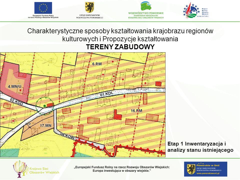 Charakterystyczne sposoby kształtowania krajobrazu regionów kulturowych i Propozycje kształtowania TERENY ZABUDOWY Etap 1 Inwentaryzacja i analizy sta