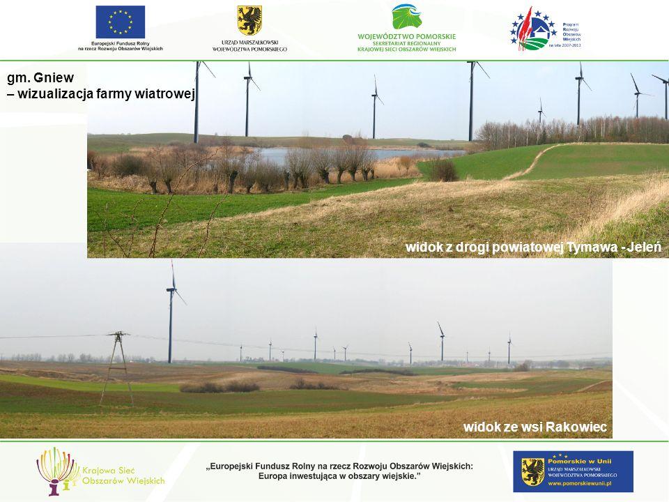 widok z drogi powiatowej Tymawa - Jeleń gm. Gniew – wizualizacja farmy wiatrowej widok ze wsi Rakowiec