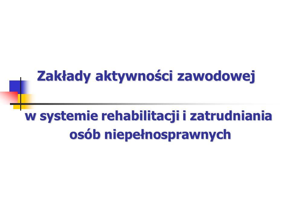 Zakłady aktywności zawodowej w systemie rehabilitacji i zatrudniania osób niepełnosprawnych osób niepełnosprawnych